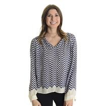 XS Joie Agnella Navy & Off White Chevron Striped Silk V-Neck Blouse 1609-T1326