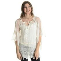 Sz 1/XS Nightcap Sheer Ivory Lace Drop Drawstring Waist Cover Up w/Kimono Sleeve