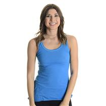 XS Lucy Blue Mesh Lined Racerback Stretch Jersey Scoop Neck Athletic Tank Top