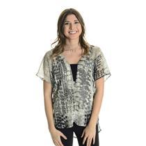 S Lovestitch Black/Gray Watercolor Print Short Style Sleeve Chiffon V-Neck Top