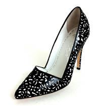 US 7 EU 37 Alice & Olivia Black & White DINA Patent Leather High Heel Box & Bag
