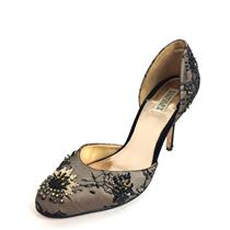 10 Badgley Mischka Black/Beige Lace Overlay Floral Beading Detail D'Orsay Pump