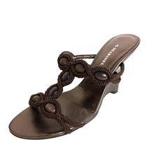 New 6.5 A. Marinelli Cabochon And Rope Brown Open Toe Slip On Wedge Sandals