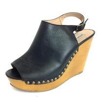 Sz 8.5 Steven Madden Black Tryffle Leahter Peep Toe Slingback Wedge Sandals