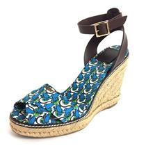 10 Tory Burch Frog Lilly Pad Criss Cross Espadrille Wedge w/ Leather Ankle Strap