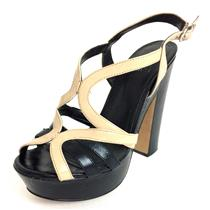 "8.5 Vince Camuto Black/Nude Leather ""Deco"" Strappy Platform Block Heel Sandals"