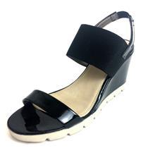 EU 38 US 7 The Flexx Black Patent Leather Open Toe Slip On Wedge Sandals