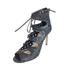 6 1/2 Vince Camuto JILLIE Black Leather Rear Zip Open Toe Lace Front High Heels