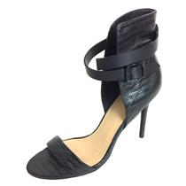 Sz 8.5 Joe's Jeans Black Snake Skin Macee Ankle Wrap High Heel Stiletto Sandals