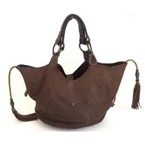 Authentic Henry Beguelin Chocolate Brown Tassel/Bead Detail Genuine Leather Tote