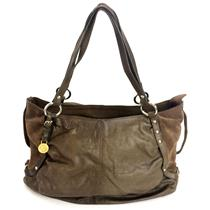 Francesco Biasia Taupe Brown Leather/Suede Silver Tone Hardware Zip Top Purse
