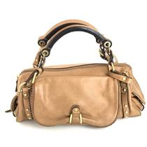 Vintage Juicy Couture Saddle Brown Leather Wide Gold Studded Shoulder Purse