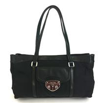 RARE PRADA Black Nero/Silver Buckle Nylon/Lambskin Leather East West Tote Bag