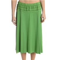 M NEW Twelfth Street Cynthia Vincent Green Jersey Skirt Silk Embroidered Eyelet