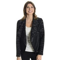 S BB Dakota Black & White Chic Tweed Vegan Leather Open Front Wool Blend Jacket