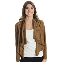 M Piko 1988 Nutmeg Brown Draped Front Full Sleeve Polyester Bolero Jacket J2146