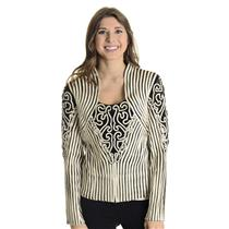 4 NWT Obstinee by Ika Black White Ribbon Stitched Zip Structured Jacket Blouse