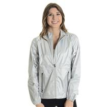 NWT L Ralph Lauren RLX Silver Full Zip Long Sleeve Water Repellent Windbreakter