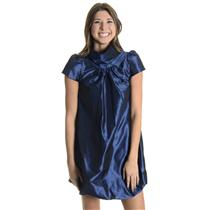 XS Madison Marcus Blue Silk High Neck Cap Sleeve Bubble Hem Cocktail Dress