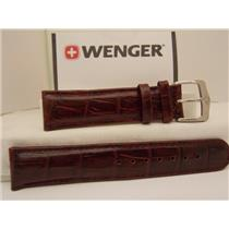 Wenger Watch Band 91189 20mm Bordeaux/Wine Leather Mens Strap/Watchband w/Pins