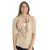 Sz L Velvet Heather Beige Rolled Cuff Half Sleeve Ruffle Button Neck Jersey Top