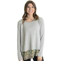 Sz S/M Subtle Luxury Gray Knit Fly Back Knit Overlay Floral Underlayer Sweater