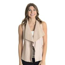 XS My Tribe Blush Pink 100% Genuine Leather Waterfall Neck Hook Closure Vest