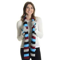 """NWT K & J Trading Acrylic Knit Striped Scarf/Gloves Set 10"""" x 60"""" Winter Colors"""