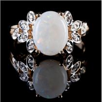 10k Yellow Gold Oval Cabochon Cut Opal & Diamond Cocktail Ring 1.59ctw