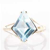 10k Yellow Gold Fantasy Cut Sky Blue Topaz Solitaire Cocktail Ring 7.25ctw
