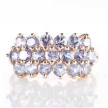 14k Yellow Gold Round Cut Tanzanite Three-Row Cocktail Ring 2.28ctw
