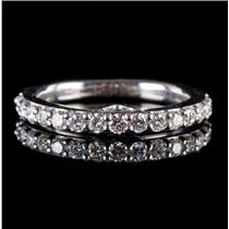 Vera Wang 14k White Gold Round Cut Diamond & Sapphire Wedding Ring .55ctw