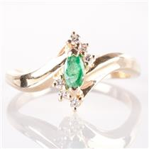 Ladies 14k Yellow Gold Marquise Cut Emerald & Diamond Cocktail Ring .33ctw
