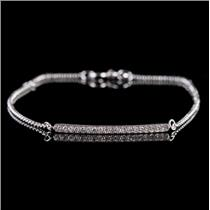 14k White Gold Single Round Cut Diamond Bar Style Bracelet .14ctw