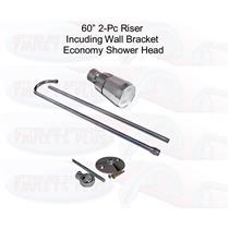 Add A Shower Riser - 3/8-Inch x 60-Inch, Chrome Plated With Shower Head