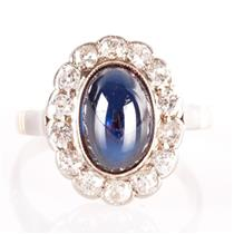 Vintage 1960's 14k Rose Gold Cabochon Sapphire & Diamond Cocktail Ring 3.94ctw