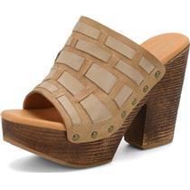 NIB Sz 6 Kork-Ease The Original Charissa Leather Peep Toe Platform Slides/Mules