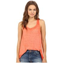 L NEW Free People/We the Free Break of Dawn Cross Back Heathered Coral Tank Top