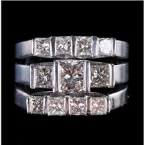 14k White Gold Princess Cut Diamond Three-Piece Engagement / Wedding Set 2.93ctw