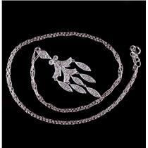 14k White Gold Vintage Style Single Cut Diamond Floral Necklace .26ctw