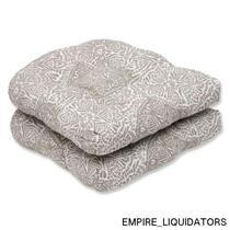Set of 2 Pillow Perfect Wicker Seat Cushion with Bella-Dura Makayla Wheat Fabric