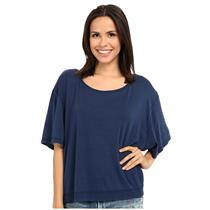 NEW Sz XS We The Free by Free People 'Penny' Oversize Raw Edge Tee in Ink Blue