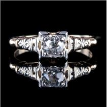 Vintage 1930's 14k Yellow & White Gold Diamond Solitaire Engagement Ring .24ct