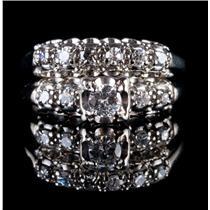 Vintage 1940's 14k White Gold Diamond Engagement / Wedding Ring Set .36ctw