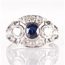 Vintage 1900's Platinum Oval Cut Sapphire & Diamond Cocktail Ring 1.54ctw