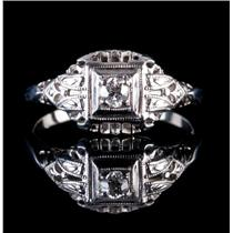 Vintage 1920's 14k White Gold Diamond Filagree Solitaire Engagement Ring .10ctw