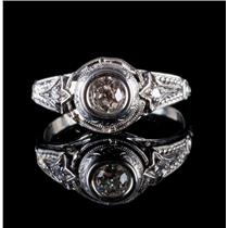 Vintage 1910s 14k White Gold Old Mine Diamond Solitaire Engagement Ring .42ctw
