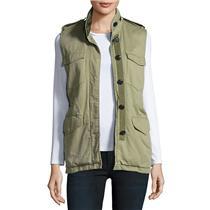 New Sz XS Rag & Bone/jean 'Bennet' Cotton Button Down Utility Vest In Army Green