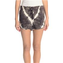 Size S Rory Beca Brown White Rayon Tie-Dye Dolphin Shorts w/Drawstring Waist