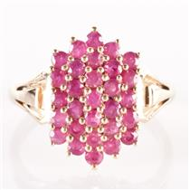 14k Yellow Gold Round Cut Ruby Cluster Cocktail Ring 2.61ctw